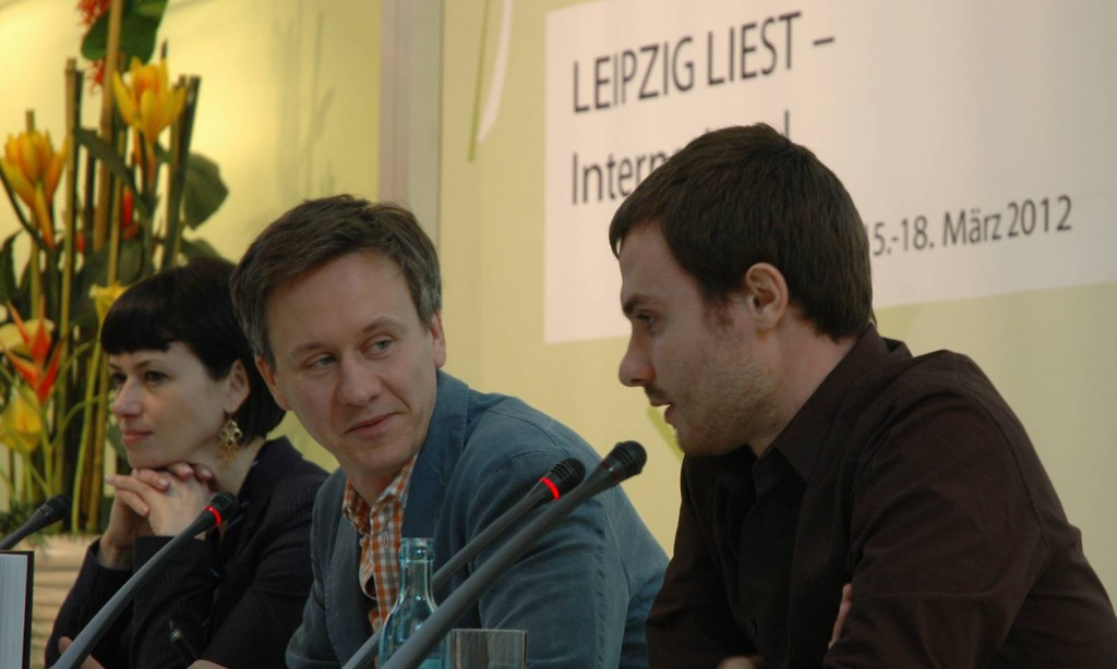 Mirko Kraetsch between authors Bianka Bellová and Marek Šindelka