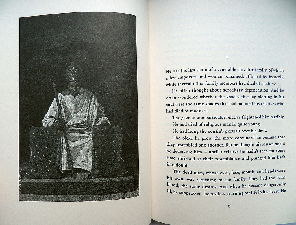A two page spread from 'A Gothic Soul' showing one of the wood engravings. Source: Twisted Spoon Press Flickr page.