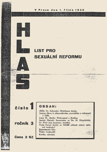 The front page of an issue of Hlas published in 1936. Source: queerpamet.cz.
