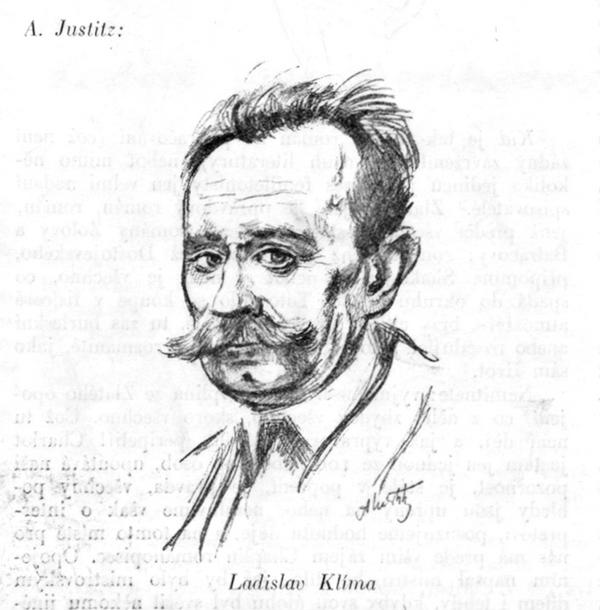 Ladislav Klíma drawn by Alfréd Justitz in 1926.