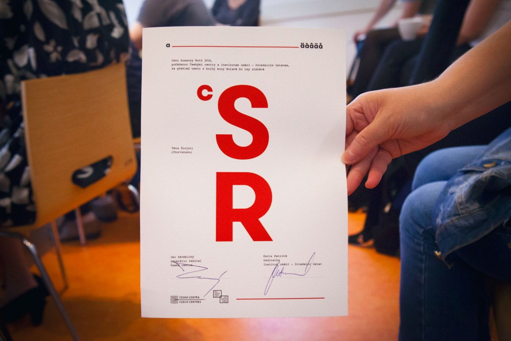 The diplomas presented to the winning translators at the workshop in Prague. Photo: Anna Pleslova.
