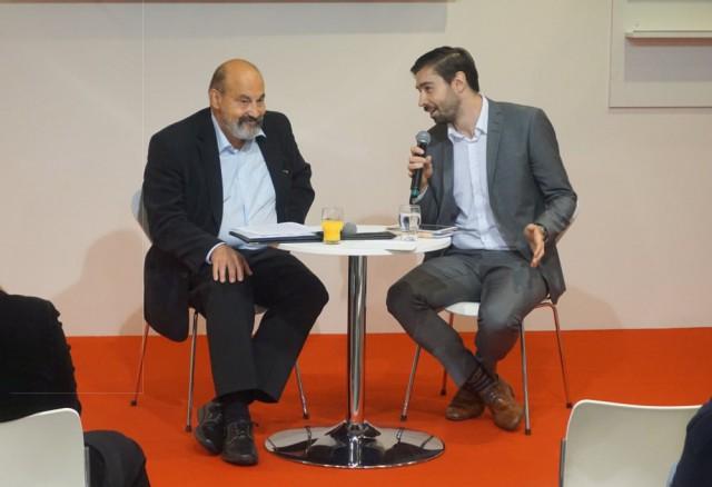 Tomáš Halík diskutoval s ředitelem Českého centra v Berlíně Tomášem Sachrem o náboženství, demokracii a budoucnosti Evropy. Foto: Moravská zemská knihovna.