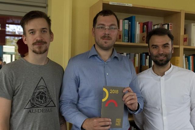 Jan Škrob, Jan Nemček a Bastian Schneider v drážďanském literárním domě Villa Augustin. Foto: Facebook Drážďanské ceny lyriky