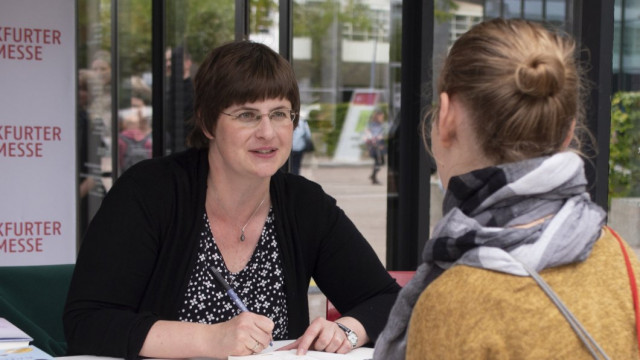 Susan Kreller at the 2019 Frankfurt Book Fair. Photo: Nele Steinborn