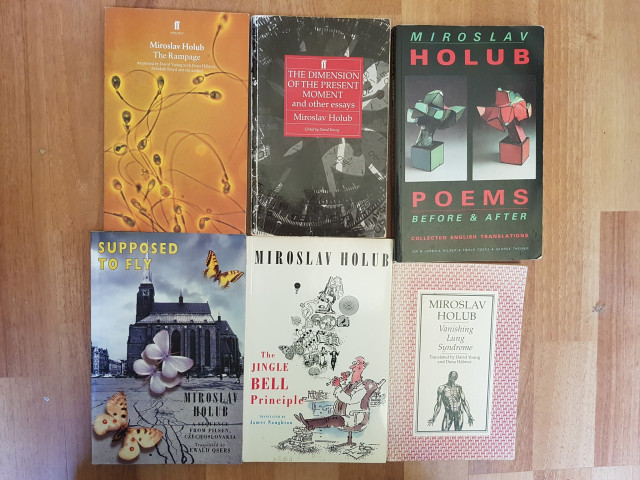 A selection of Miroslav Holub's book in English. Photo: Rob A. Mackenzie